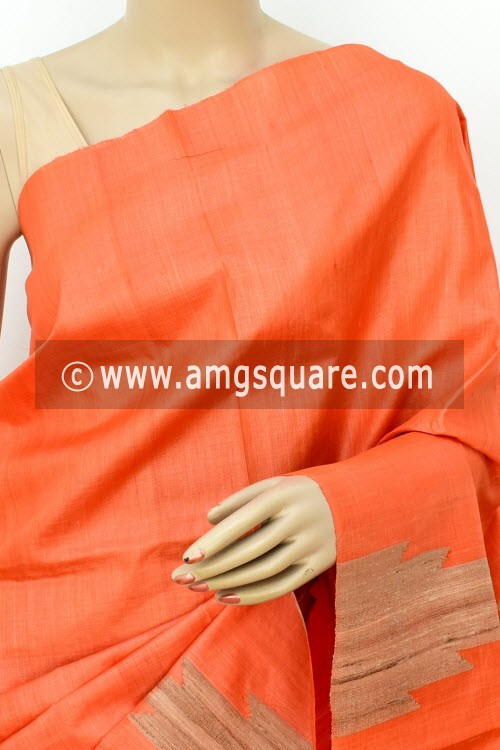 Orange Pure Tusser Silk Handloom Saree (with Blouse) Ghicha Temple Border 16333