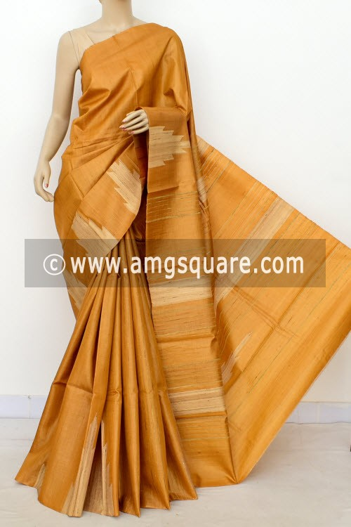 Mustared Yellow Pure Tusser Silk Handloom Saree (with Blouse) Ghicha Temple Border 16334