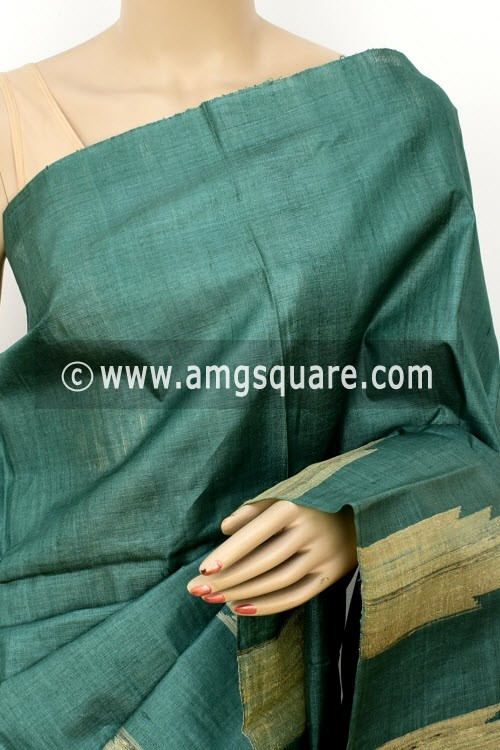 Kahi Green Pure Tusser Silk Handloom Saree (with Blouse) Ghicha Temple Border 16335
