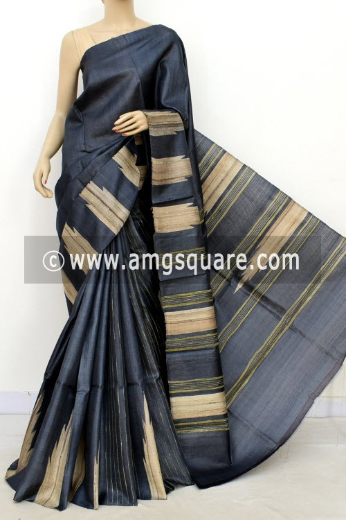 Grey Pure Tusser Silk Handloom Saree (with Blouse) Ghicha Temple Border 16336