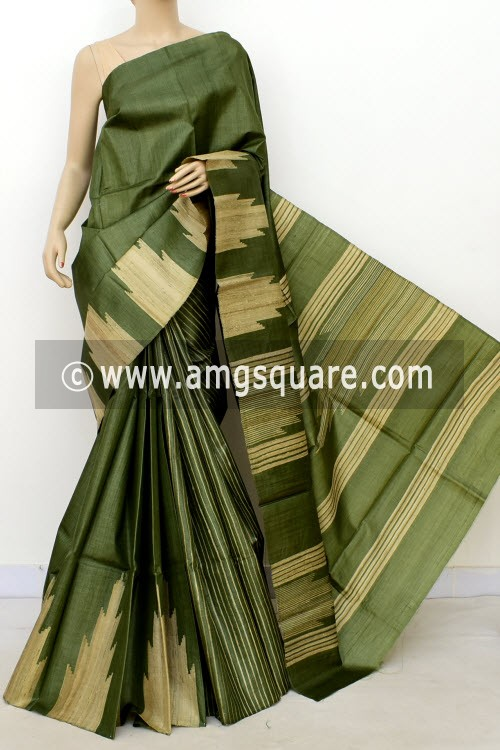 Menhdi Green Pure Tusser Silk Handloom Saree (with Blouse) Ghicha Temple Border 16337