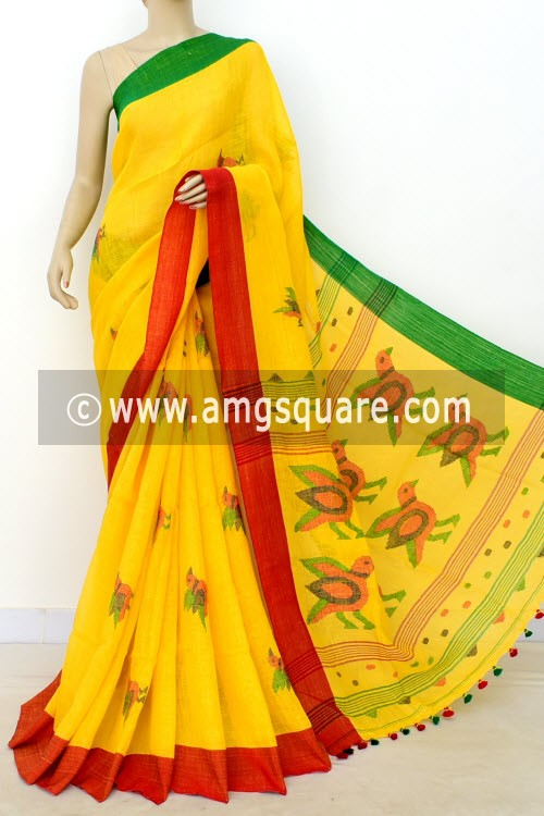 Yellow Exclusive Wrinkle Free Pure Linen Fabric Jamdani Saree (Without Blouse) Ganga Yamuna Border 16341