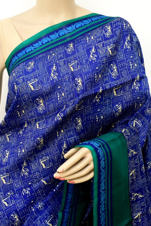 Blue Printed Handloom Double Knitted Pure Silk Saree (With Blouse) 16344