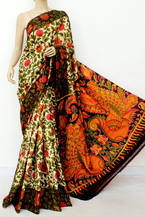 Cream Kalamkari Print Handloom Double Knitted Pure Silk Saree (With Blouse) 16345