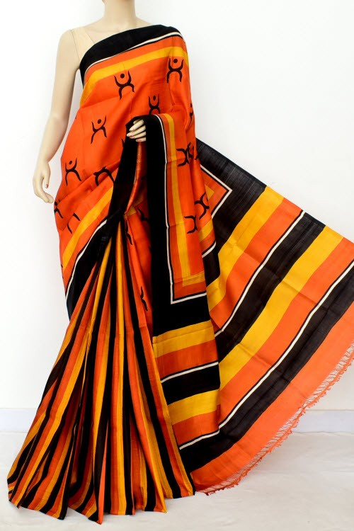 Orange Black Patli Pallu Printed Handloom Double Knitted Pure Silk Saree (With Blouse) 16346