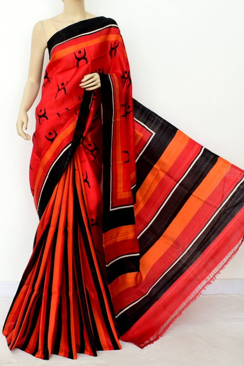 Red Black Patli Pallu Printed Handloom Double Knitted Pure Silk Saree (With Blouse) 16347
