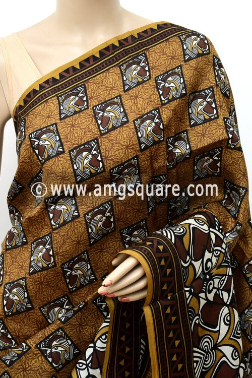 Coffee Handloom Double Knitted Printed Pure Silk Saree (With Contrast Blouse) 16349