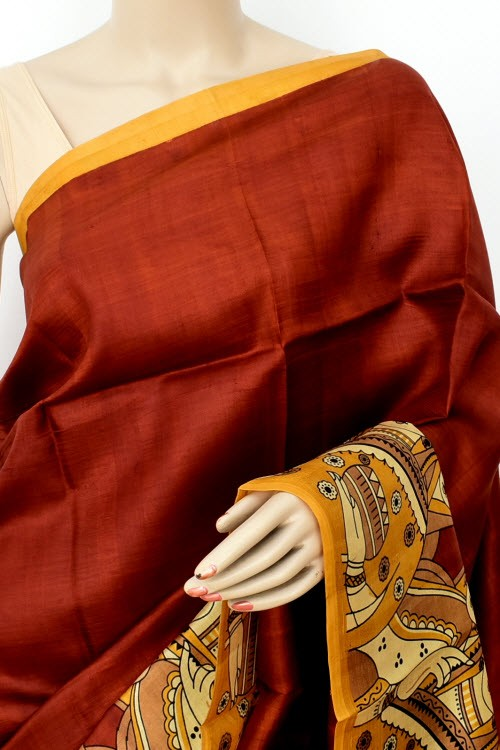 Rust Handloom Double Knitted Kalamkari Print Pure Silk Saree (With Blouse) 16352