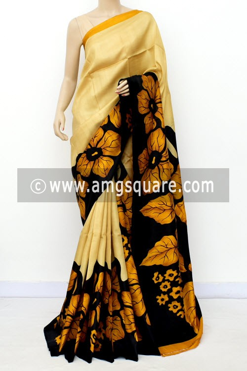 Beige Handloom Double Knitted Printed Pure Silk Saree (With Blouse) 16354