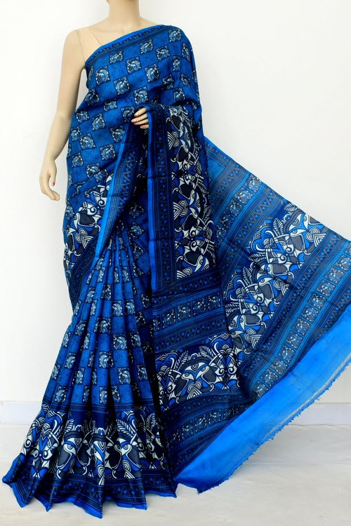 Blue Printed Handloom Double Knitted Pure Silk Saree (With Blouse) 16357
