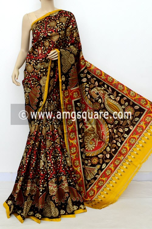 Coffee Kalamkari Print Handloom Double Knitted Pure Silk Saree (With Blouse) 16358