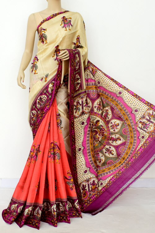 Cream Peach Magenta Printed  Handloom Double Knitted Pure Silk Saree (With Blouse) Half-Half 16360