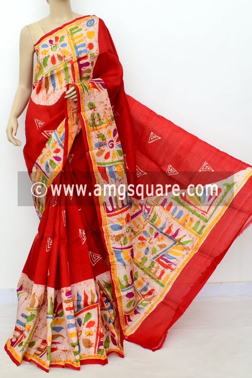 Red Batik Print Handloom Double Knitted Pure Silk Saree (With Blouse) 16367
