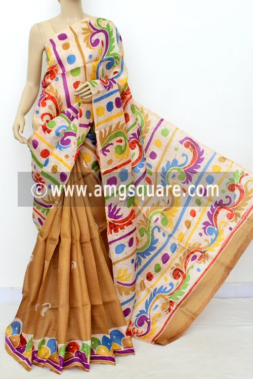 Fawn Batik Print Handloom Double Knitted Pure Silk Saree (With Blouse) Halh-Half 16368