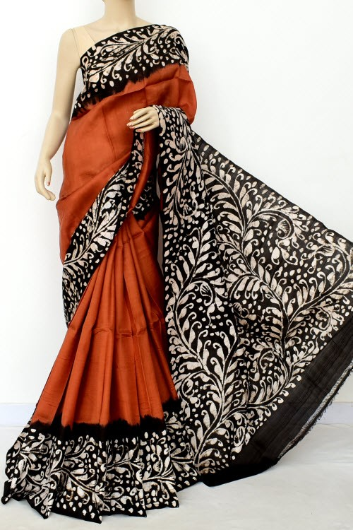 Rust Black Handloom Double Knitted Batik Print Pure Silk Saree (With Blouse) 16370