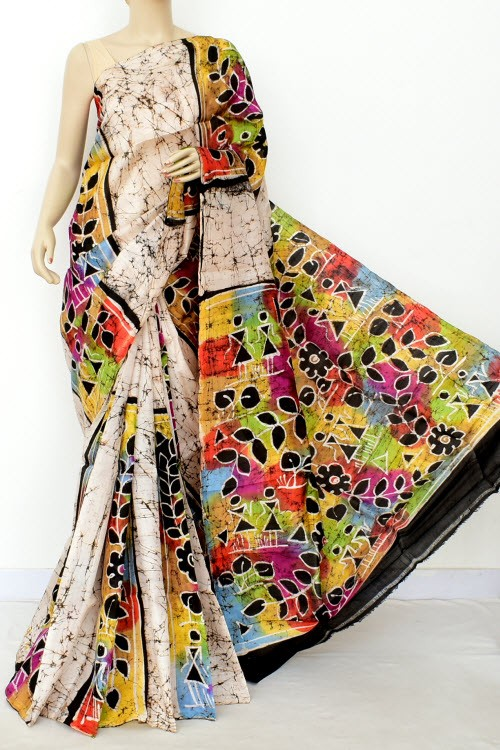 Off White Handloom Double Knitted Batik Print Pure Silk Saree (With Blouse) 16371