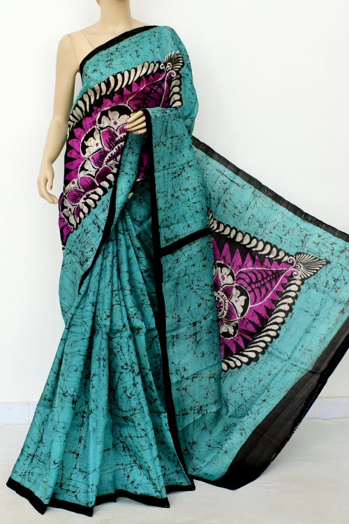 Sea Green Handloom Double Knitted Batik Print Pure Silk Saree (With Blouse) 16372