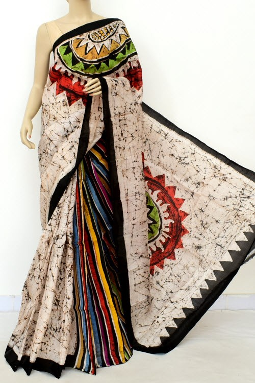 Off White Handloom Double Knitted Batik Print Pure Silk Saree (With Blouse) Patli Pallu 16373