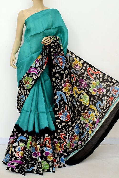 Sea Green Black Handloom Double Knitted Printed Pure Silk Saree (With Blouse) 16374