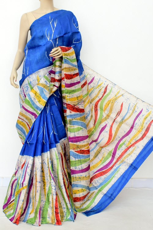 Blue Handloom Double Knitted Batik Print Pure Silk Saree (With Blouse) 16375