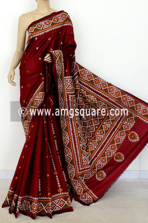 Maroon Hand-Embroidered with Gujarati Stitch Dupion Silk Saree (With Blouse) 16377