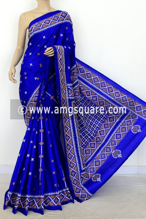 Royal Blue Hand-Embroidered with Gujarati Stitch Dupion Silk Saree (With Blouse) 16378