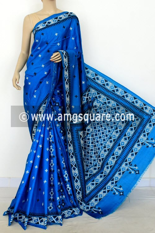 Pherozi Blue Hand-Embroidered with Gujarati Stitch Dupion Silk Saree (With Blouse) 16379