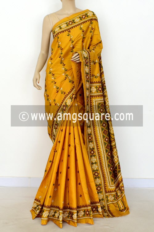 753610548a4 Mustard Yellow Hand-Embroidered with Gujarati Stitch Dupion Silk Saree  (With Blouse) 16381