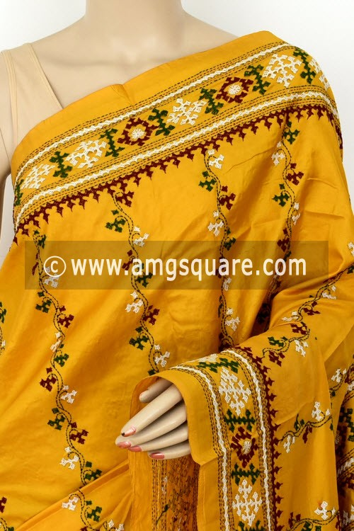 Mustard Yellow Hand-Embroidered with Gujarati Stitch Dupion Silk Saree (With Blouse) 16381