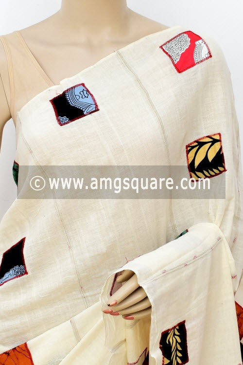 Off White Handloom Soft Cotton Saree (Without Blouse) Applique Work 16382
