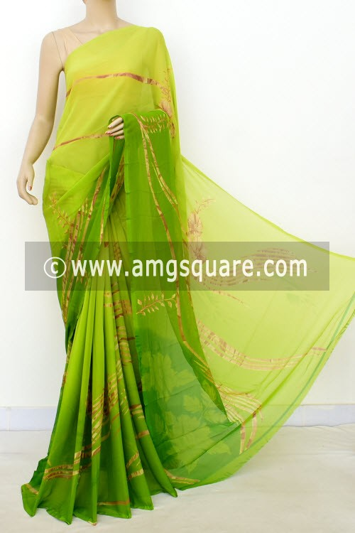 Menhdi Green Exclusive Printed Semi-Chiffon Saree (with Blouse) 16387