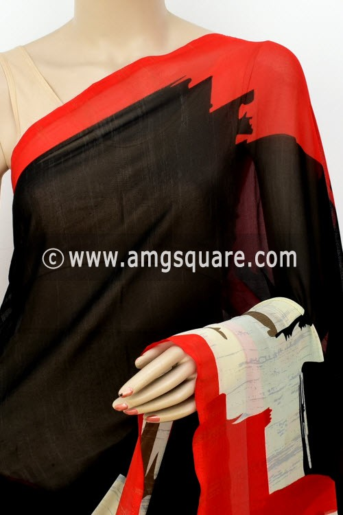 Black Red Printed Mul-Mul Georgette Saree (with Blouse) 16388