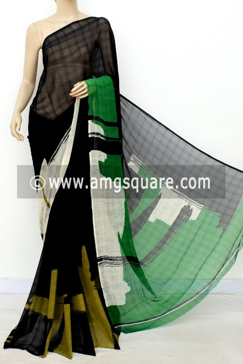 Black Green Exclusive Printed Semi-Chiffon Saree (with Blouse) 16389