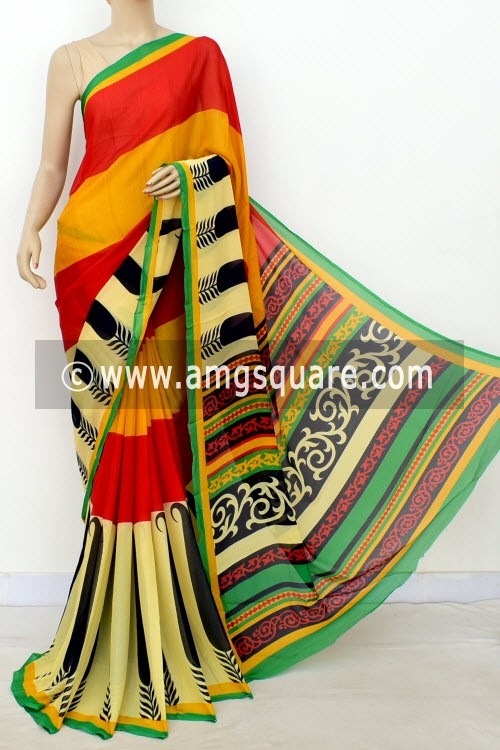 Red Yellow Printed Wrinkle Georgette Saree (with Blouse) 16390