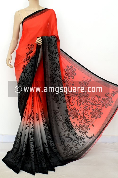 Orange Grey Printed Mul-Mul Georgette Saree (with Blouse) 16391