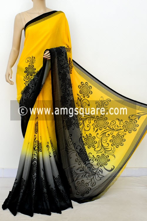 Yellow Grey Printed Mul-Mul Georgette Saree (with Blouse) 16392