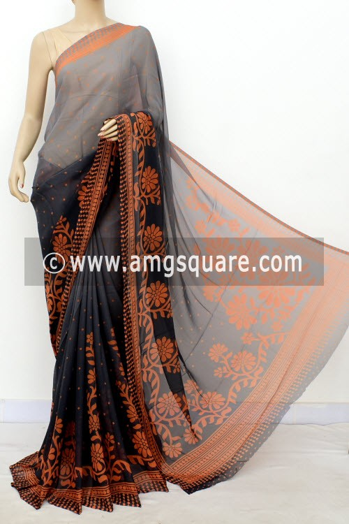 Grey Orange Printed Mul-Mul Georgette Saree (with Blouse) 16393