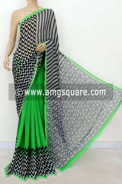 Green Black Half-Half Printed Mul-Mul Georgette Saree (with Blouse) 16394