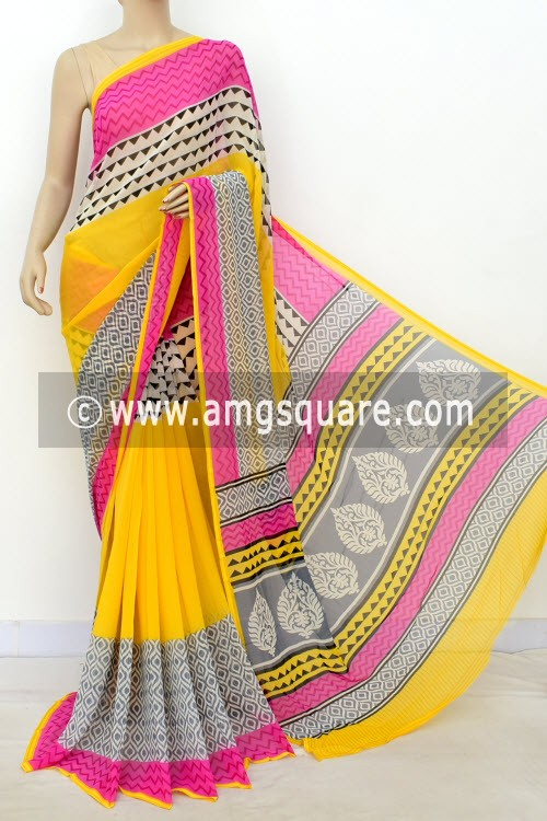 Yellow Pink Printed Mul-Mul Georgette Saree (with Blouse) 16395