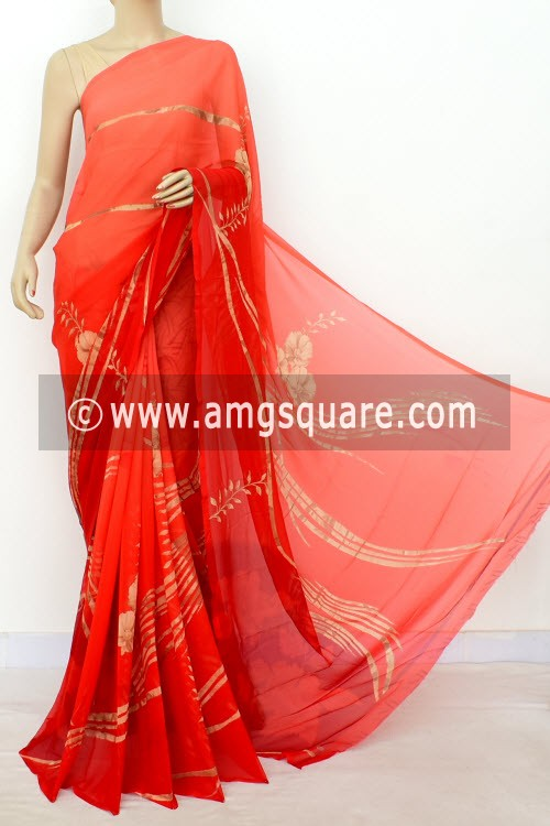Red Exclusive Printed Semi-Chiffon Saree (with Blouse) 16396