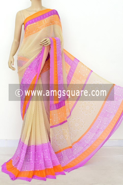 Off-White Purple Printed Semi-Chiffon Saree (with Blouse) 16397