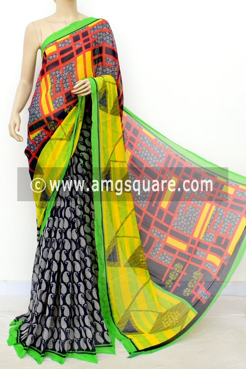 Navy Blue Green Half-Half Printed Semi-Chiffon Saree (with Blouse) 16398