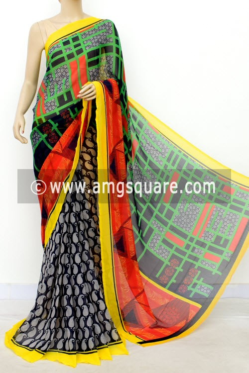 Navy Blue Yellow Half-Half Printed Semi-Chiffon Saree (with Blouse) 16399