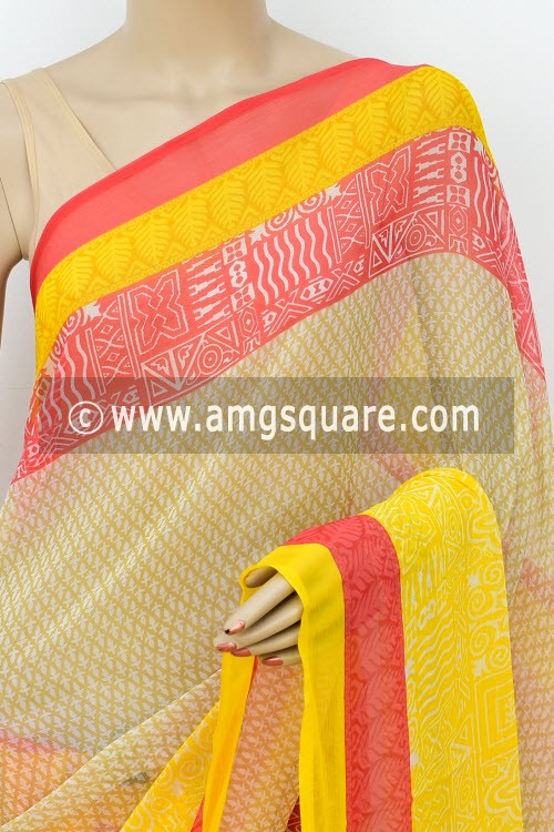 Yellow Red Printed Semi-Chiffon Saree (with Blouse) 16400