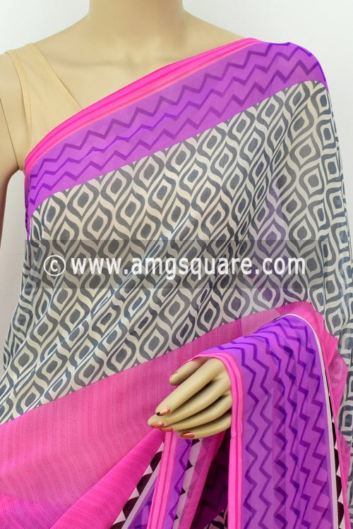 Pink Purple Printed Mul-Mul Georgette Saree (with Blouse) 16401