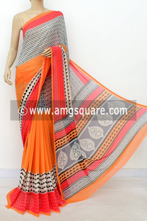 Orange Grey Printed Mul-Mul Georgette Saree (with Blouse) 16402