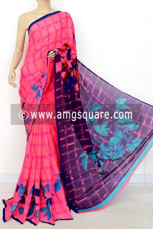 Peach Blue Printed Wrinkle Georgette Saree (with Blouse) 16404