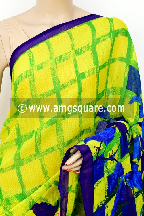 8f8f49c42a Yellow Green Printed Wrinkle Georgette Saree (with Blouse) 16405
