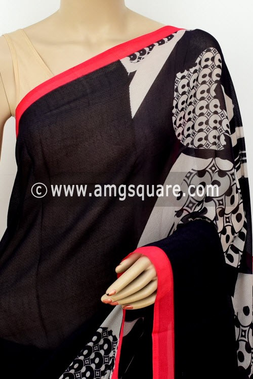Black Grey Printed Wrinkle Georgette Saree (with Blouse) 16406