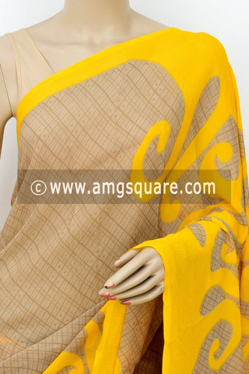 Yellow Chocolate Designer Printed Wrinkle Georgette Saree (with Blouse) 16407